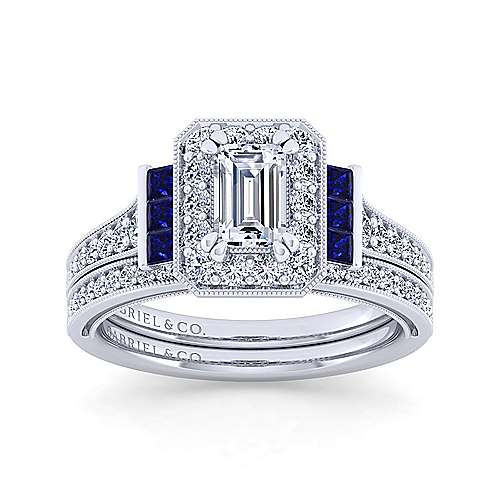 Vintage Inspired 14K White Gold Halo Emerald Cut Sapphire and Diamond Engagement Ring