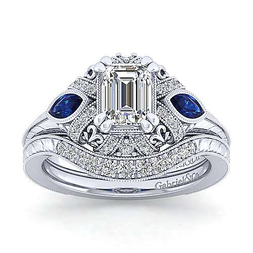 Vintage Inspired 14K White Gold Halo Emerald Cut Three Stone Sapphire and Diamond Engagement Ring