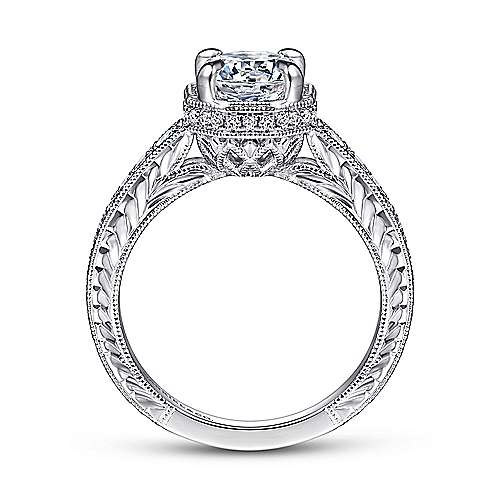 Vintage Inspired 14K White Gold Hidden Halo Round Diamond Engagement Ring