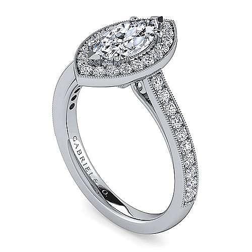 Vintage Inspired 14K White Gold Marquise Halo Diamond Engagement Ring