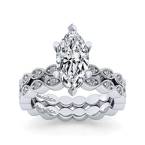 Vintage Inspired 14K White Gold Marquise Shape Diamond Engagement Ring