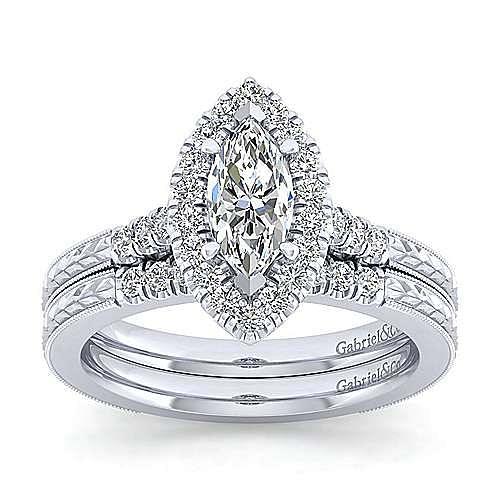 Vintage Inspired 14K White Gold Marquise Shape Halo Diamond Engagement Ring