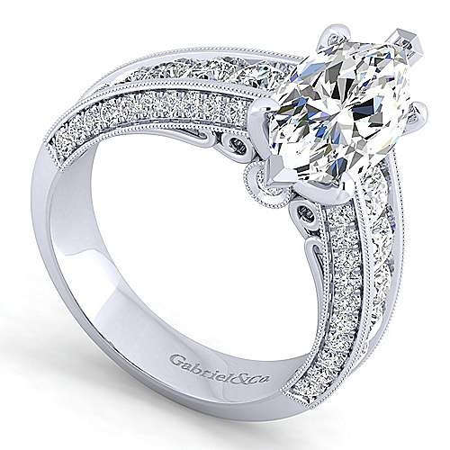 Vintage Inspired 14K White Gold Marquise Shape Wide Band Diamond Engagement Ring
