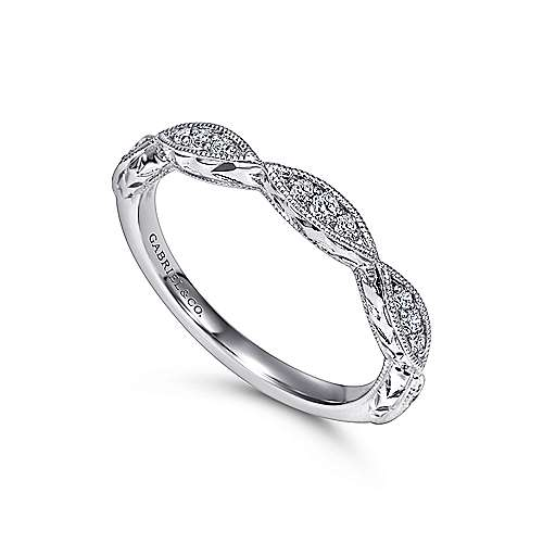 Vintage Inspired 14K White Gold Marquise Station Diamond Anniversary Band