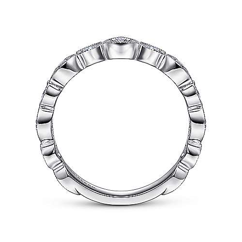 Vintage Inspired 14K White Gold Marquise and Round Station Diamond Anniversary Band