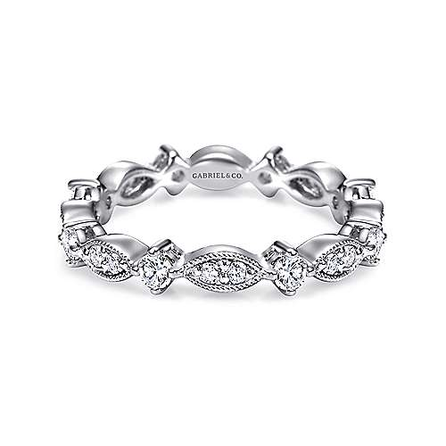 Vintage Inspired 14K White Gold Marquise and Round Station Diamond Eternity Band