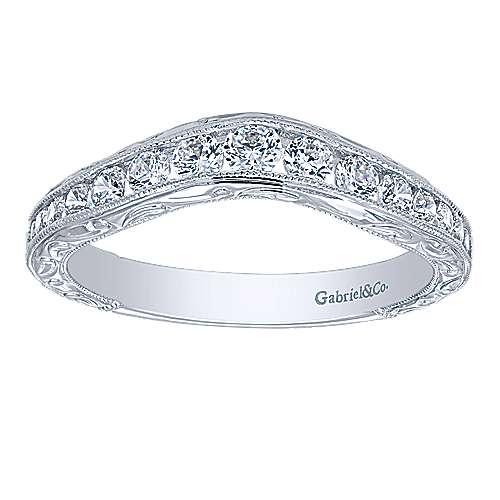 Vintage Inspired 14K White Gold Micro Pavé Curved Diamond Wedding Band with Engraving