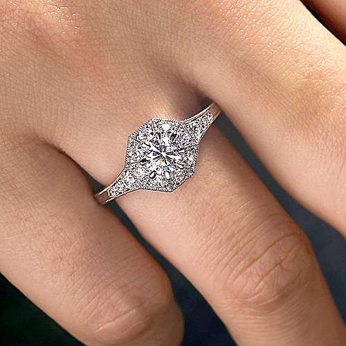 Vintage Inspired 14K White Gold Octagonal Halo Diamond Engagement Ring
