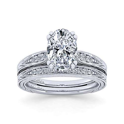Vintage Inspired 14K White Gold Oval Diamond Engagement Ring