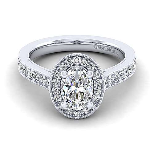 Vintage Inspired 14K White Gold Oval Halo Diamond Engagement Ring