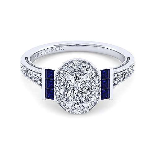 Vintage Inspired 14K White Gold Oval Halo Sapphire and Diamond Engagement Ring