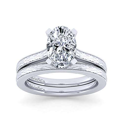 Vintage Inspired 14K White Gold Oval Solitaire Engagement Ring