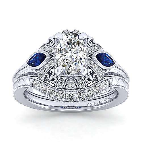 Vintage Inspired 14K White Gold Oval Three Stone Halo Sapphire and Diamond Engagement Ring