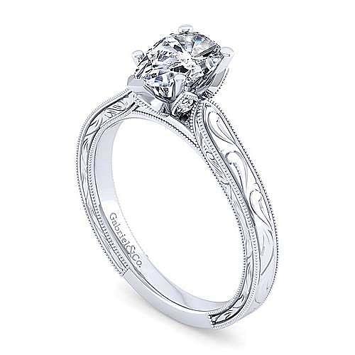 Vintage Inspired 14K White Gold Pear Shape Diamond Engagement Ring