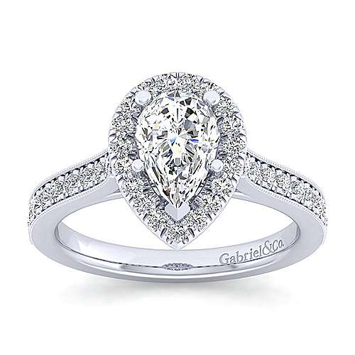 Vintage Inspired 14K White Gold Pear Shape Halo Diamond Engagement Ring