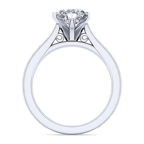 Vintage Inspired 14K White Gold Pear Shape Solitaire Engagement Ring