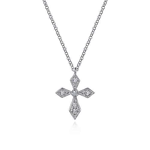 Vintage Inspired 14K White Gold Pointed Diamond Cross Pendant Necklace