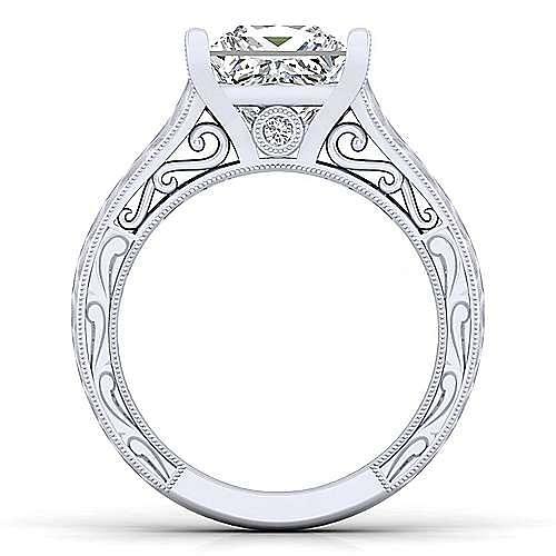 Vintage Inspired 14K White Gold Princess Cut Diamond Engagement Ring
