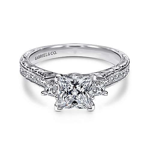 Vintage Inspired 14K White Gold Princess Cut Three Stone Diamond Engagement Ring