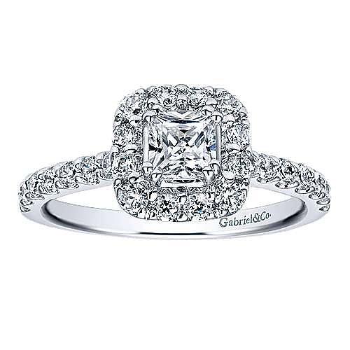 Vintage Inspired 14K White Gold Princess Halo Diamond Engagement Ring