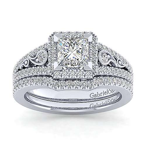 Vintage Inspired 14K White Gold Princess Halo Diamond Engagement Ring