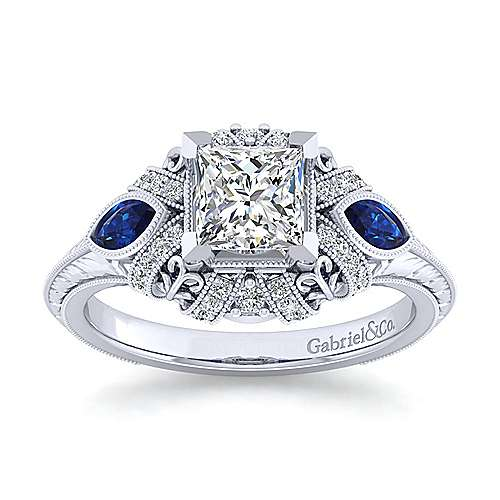 Vintage Inspired 14K White Gold Princess Halo Three Stone Sapphire and Diamond Engagement Ring