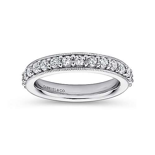 Vintage Inspired 14K White Gold Prong Set Diamond Eternity Band