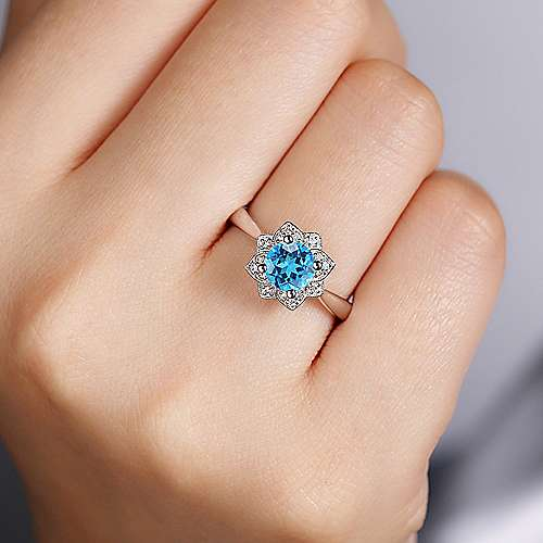 Vintage Inspired 14K White Gold Round Blue Topaz and Floral Diamond Halo Ring
