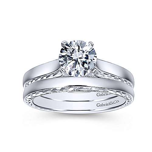 Vintage Inspired 14K White Gold Round Diamond Engagement Ring