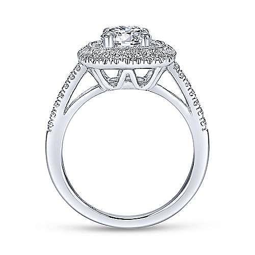 Vintage Inspired 14K White Gold Round Double Halo Diamond Engagement Ring