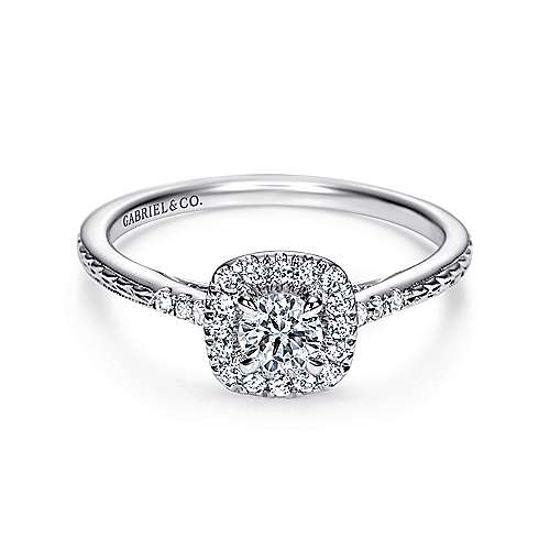 Vintage Inspired 14K White Gold Round Halo Complete Diamond Engagement Ring