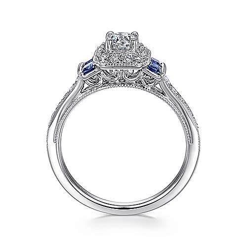 Vintage Inspired 14K White Gold Round Halo Sapphire and Diamond Complete Engagement Ring