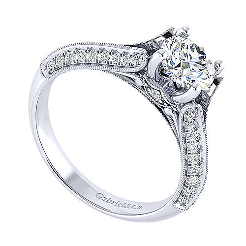 Vintage Inspired 14K White Gold Round Split Shank Diamond Engagement Ring