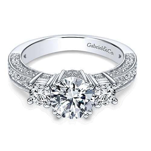 Vintage Inspired 14k White Gold Round Three Stone Diamond Engagement Ring Er3890w44jj Gabriel Co