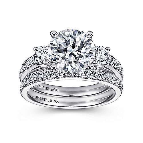 Vintage Inspired 14K White Gold Round Three Stone Diamond Engagement Ring