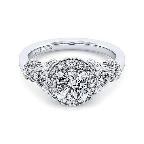 Vintage Inspired 14K White Gold Round Three Stone Diamond Engagement Ring
