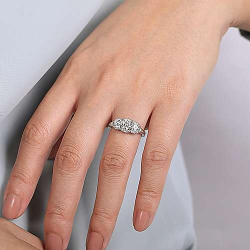 Vintage Inspired 14K White Gold Round Three Stone Halo Diamond Engagement Ring