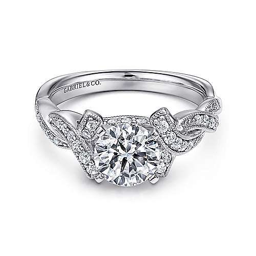 Vintage Inspired 14K White Gold Round Twisted Diamond Engagement Ring