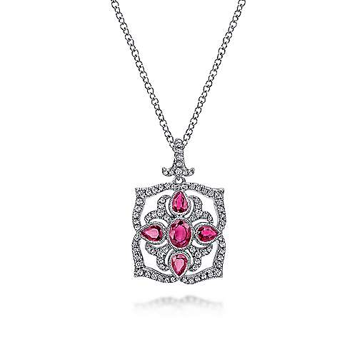Vintage Inspired 14K White Gold Ruby and Diamond Pendant Necklace