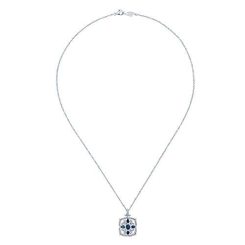 Vintage Inspired 14K White Gold Sapphire and Diamond Pendant Necklace