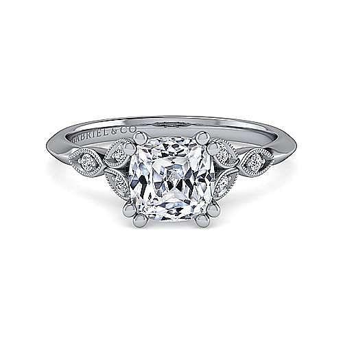 Vintage Inspired 14K White Gold Split Shank Cushion Cut Diamond Engagement Ring