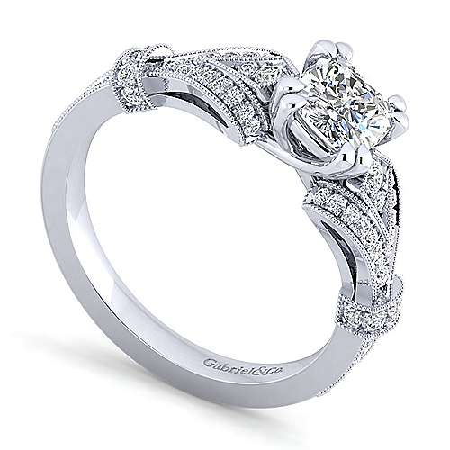 Vintage Inspired 14K White Gold Split Shank Cushion Cut Diamond Engagement Ring