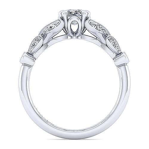 Vintage Inspired 14K White Gold Split Shank Emerald Cut Diamond Engagement Ring