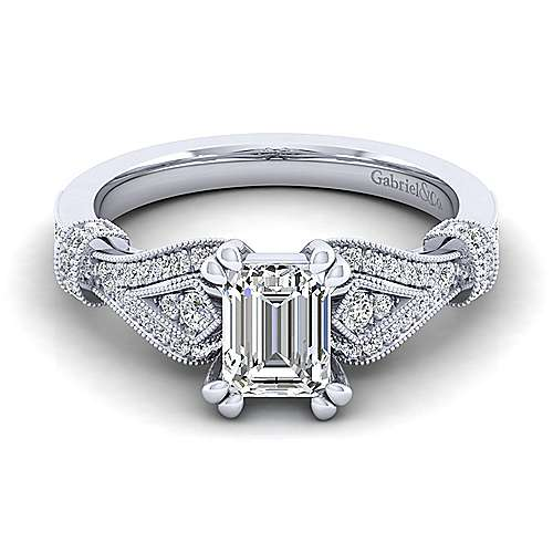 Vintage Inspired 14K White Gold Split Shank Emerald Cut Diamond Engagement Ring