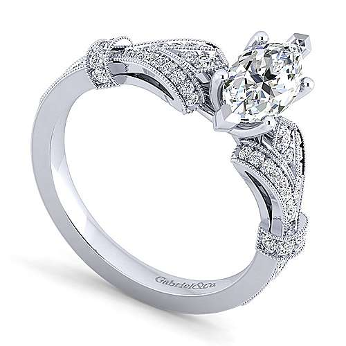 Vintage Inspired 14K White Gold Split Shank Marquise Shape Diamond Engagement Ring