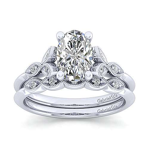 Vintage Inspired 14K White Gold Split Shank Oval Diamond Engagement Ring