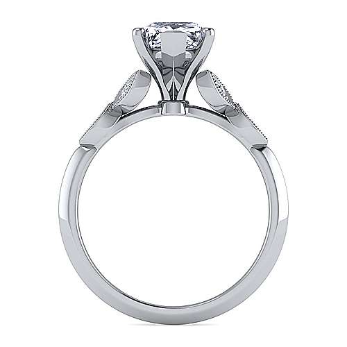 Vintage Inspired 14K White Gold Split Shank Pear Shape Diamond Engagement Ring
