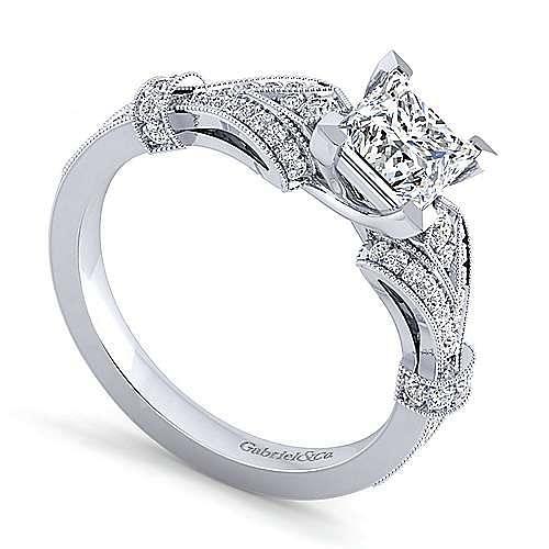 Vintage Inspired 14K White Gold Split Shank Princess Cut Diamond Engagement Ring