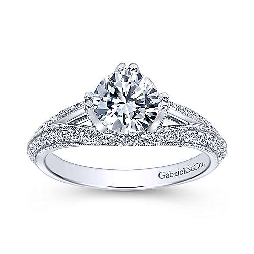 Vintage Inspired 14K White Gold Split Shank Round Diamond Engagement Ring