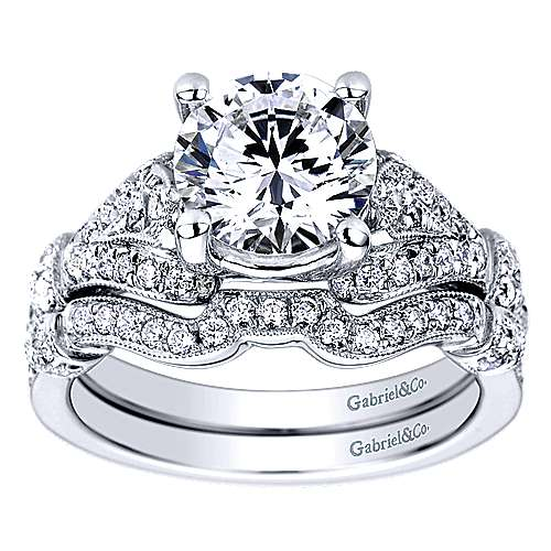 Vintage Inspired 14K White Gold Split Shank Round Diamond Engagement Ring